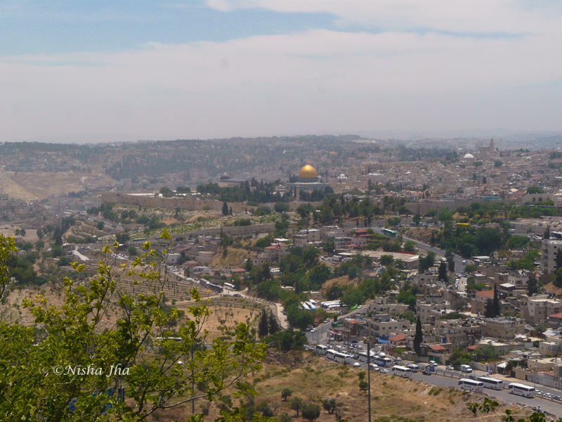 View of Walled city of Jerusalem from Mount Scopus. Dome of rock