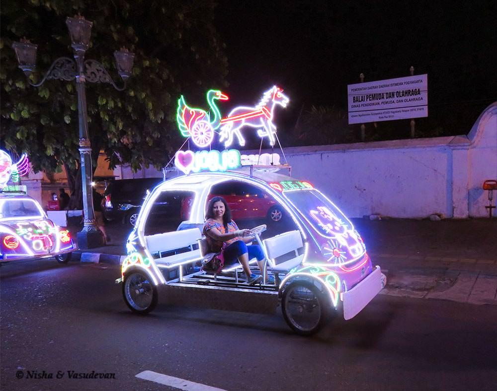 things to do in yogyakarta: adong adong fluorescent VW beetle at yogyakarta @www.lemonicks.com