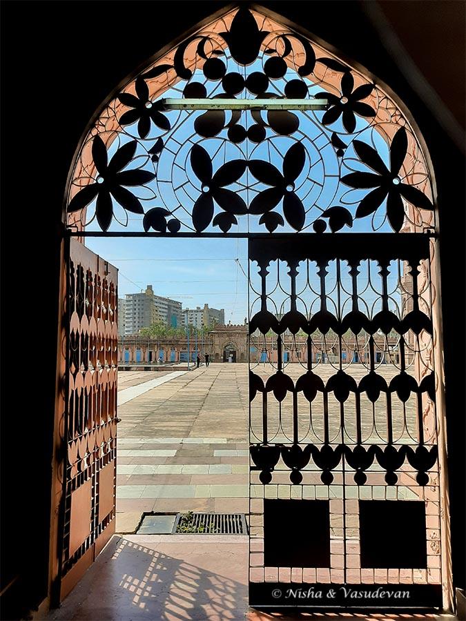Metal Jali work gates protecting the tajul masajid the biggest mosque in india